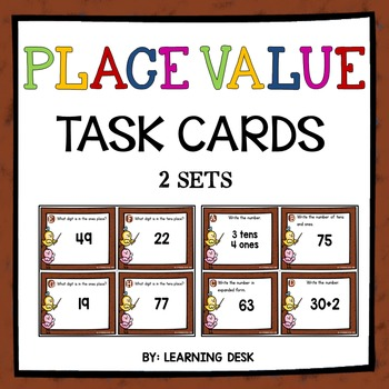 Place Value Task Cards for 2-digit numbers