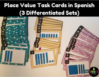 Place Value Task Cards in Spanish (Valor posicional)