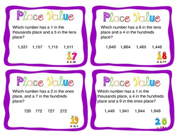 Place Value Task Cards (or Scoot Game) up to 1200!