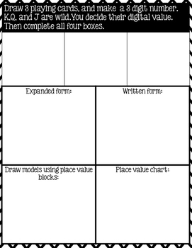 Place Value Task Cards to 1,200- differentiated