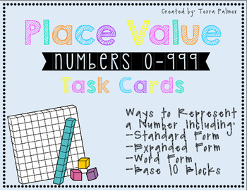 Place Value Task Cards to 999