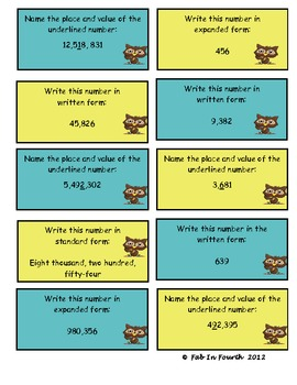 Place Value Task Cards to Help Support the Common Core Standards