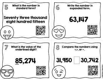 Place Value Task Cards to Ten Thousands with Optional QR Codes