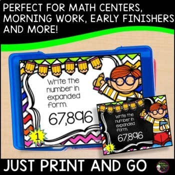 Place Value Task Cards- Back to School theme (2 versions)