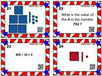 Place Value Task Cards w/ QR Codes - Numbers to the Thousands Place