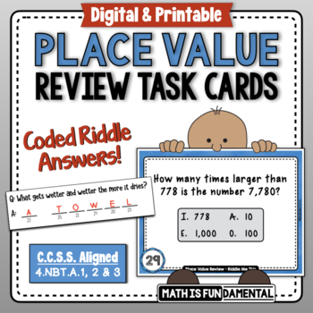 Riddle Me This Place Value Task Cards with Fun Self-Checking Code Message