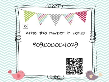 Place Value Task Cards with QR Codes: Billions