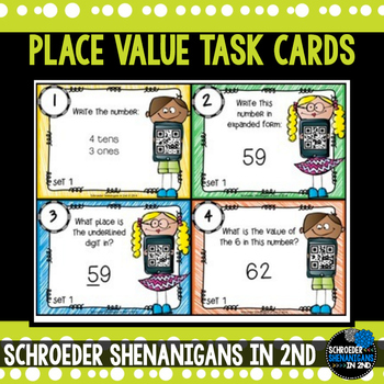 Place Value Task Cards with and without QR codes