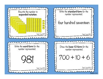 Place Value Task Cards/Scoot Activity up to 1,000 (3.NBT)