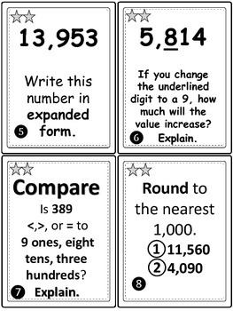 Place Value Task Cards/Scoot-Leveled for Differentiation-4th Grade Common Core