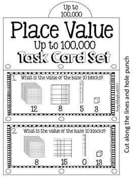 Place Value Task Tabs:  Task card set TEKS 3.2A and 3.2B