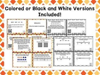 Place Value Task Cards QR Codes TEKS aligned 4th Grade