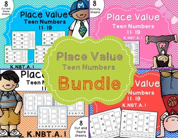 Place Value-Teen Numbers 11-19 Base Ten {Bundle} Cut and Paste & Multiple Choice