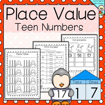 Place Value - Teen Numbers (10 to 19)  - Worksheets / Printables