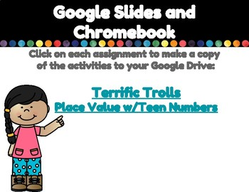 Place Value (Teen Numbers)-A Digital Math Center (For Google Classroom)