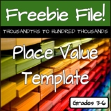 Place Value Template with Decimals