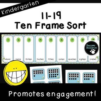 Place Value Ten Frame Sort (Kindergarten, K.NBT.1)