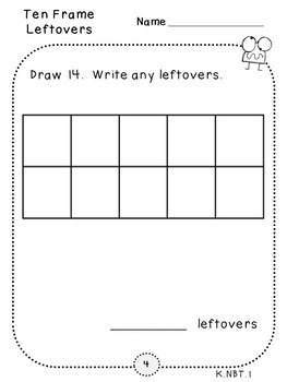 Place Value Ten Frames-Pack 6 (Kindergarten-K.NBT.1)