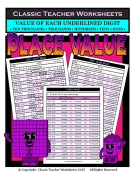 Place Value-Ten Thousands-Value of Underlined Digit-Grades 4-5 (4th-5th Grade)