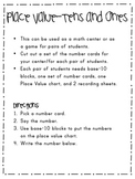 Place Value-Tens & Ones Center Activity