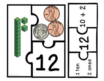 Place Value Puzzles - Tens & Ones (Math Center)