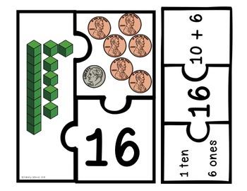 Place Value & Money Puzzles - Tens & Ones Math Center