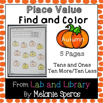 Place Value (Tens and Ones): Autumn Find and Color Printables