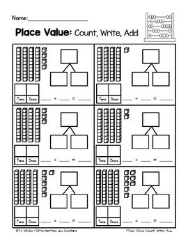 Place Value, Tens and Ones, Count, Write, Add with Number Bonds