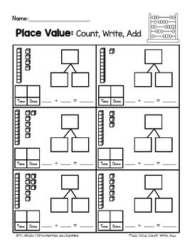 Place Value Tens and Ones Count Write Add with Number Bonds