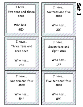 Place Value: Tens and Ones  I Have, Who Has? Cards