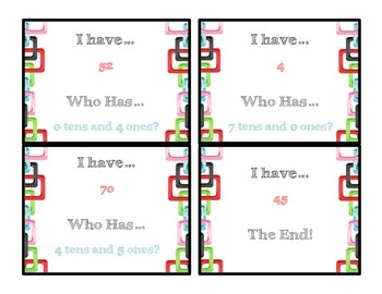 Place Value Tens and Ones I have...Who has? Game!