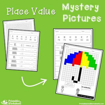 Place Value Tens and Ones,  Place Value 2 Digits Mystery Pictures