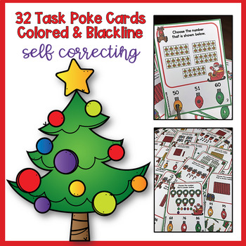 Place Value Tens and Ones Poke Task Cards & Worksheets Christmas Theme