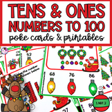 Place Value Tens and Ones Poke Task Cards & Worksheets Chr