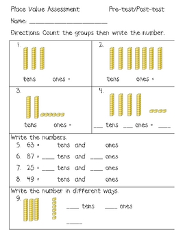 Place Value Tens and Ones Pre/Post Assessment