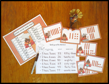 Place Value Activity Tens and Ones Turkeys in the Kitchen