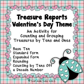 Place Value Activity Tens and Ones Valentine's Treasure Reports