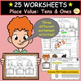 Place Value Tens and Ones Worksheets and Cut/Paste Activities