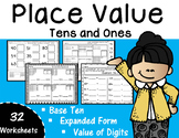 Place Value - Tens and Ones to 99 Base Ten {32 worksheets} #teachersloveteachers