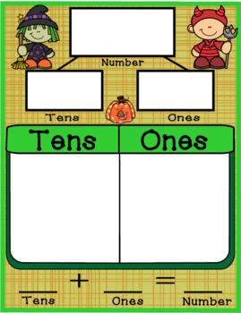 Place Value Tens n Ones Halloween MAFS Envision Mat n Worksheet Envision