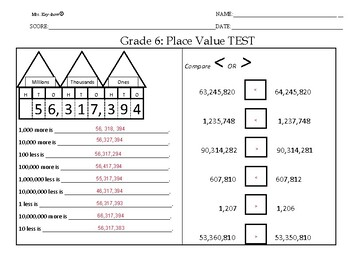 Place Value Test Grade 6 ANSWERS