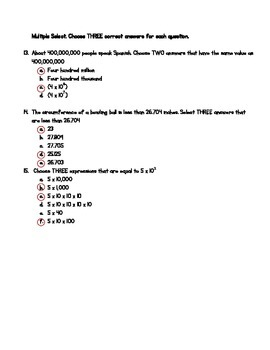 Place Value Test and Study Guide