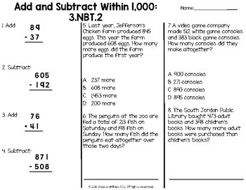 Place Value Tests 3rd Grade