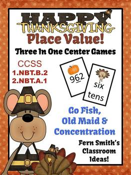 Thanksgiving Math Centers for Place Value Concentration, Go Fish, & Old Maid