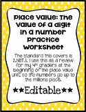 Place Value: The value of a digit practice worksheet *EDITABLE*