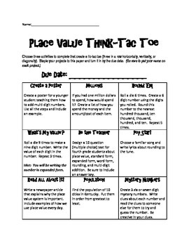 Place Value Think-Tac-Toe 4.NBT.1, 4.NBT.2, 4.NBT.3, & 4.NBT.4