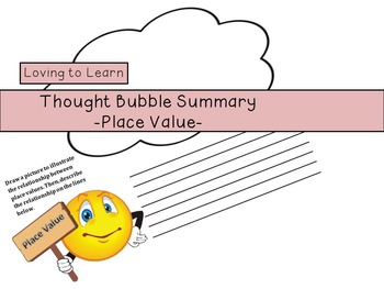 Place Value Thought Bubble Summary - Freebie