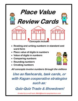 Place Value Through the Millions- Review Cards