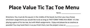 Place Value Tic Tac Toe Menu