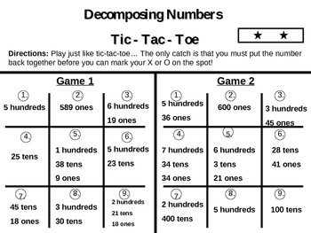 Place Value Tic - Tac - Toe1